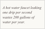 A hot water faucet leaking one drip per second wastes 200 gallons of water per year.